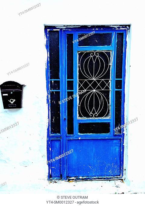 Old Blue Metal Door, Crete, Greece