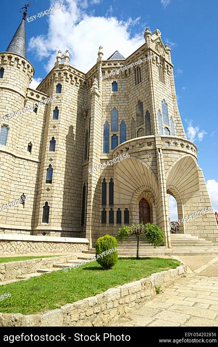 Exterior view of Episcopal Palace in Astorga, León province, Castilla Leon, in Spain