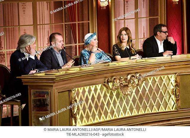 The jury Ivan Zazzaroni, Fabio Canino, Carolyn Smith, Selvaggia Lucarelli, Guillermo Mariotto at the talent show Dancing with the stars, Rome, ITALY-27/02/2016