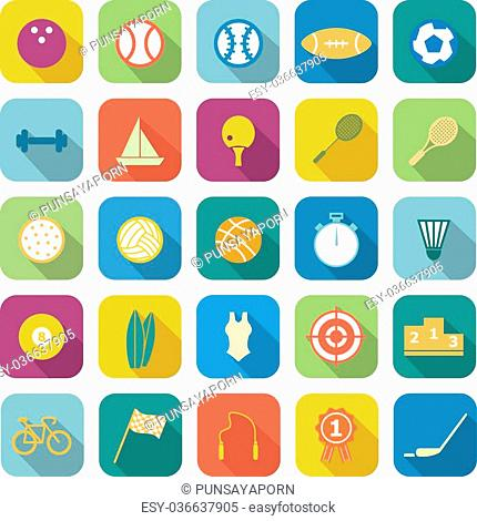 Sport color icons with long shadow on white background