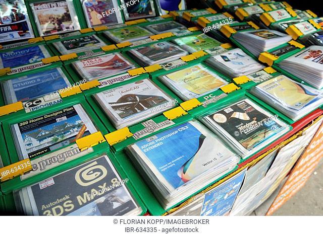Pirate software on CD and DVD at a stall at Khaosan Road, Bangkok, Thailand