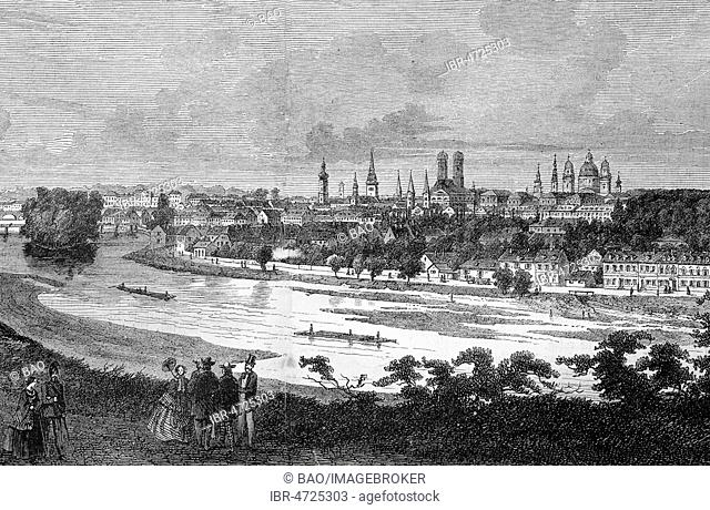 Panorama view of Munich with river Isar, Bavaria, woodcut, 1888, Germany