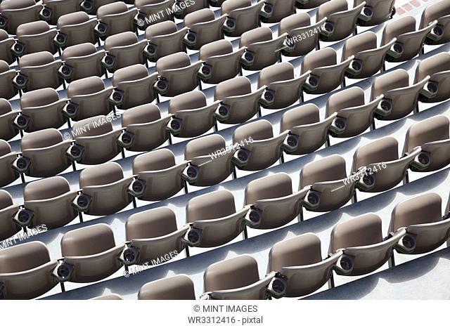 Overhead view of empty auditorium seats