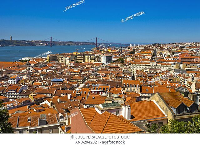 Baixa Pombalina, on background 25 April bridge, Port of Lisbon, Tagus River, from Lisbon Castle, Lisbon, Portugal, Europe