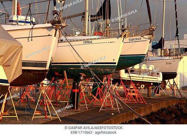 Some yachts on drydock  Ponta Delgada, Azores islands, Portugal