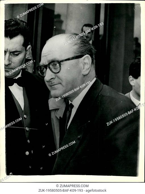 May 05, 1958 - Crisis Continues in Paris. M. Guy Mollet Sees President Coty. Keystone Photo Shows: Labour Leader M. Guy Mollet leaves the Elysse Palace today...