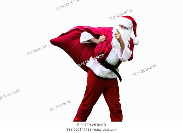 Santa Claus with his sack pointing his finger