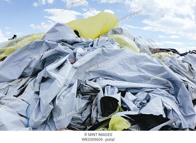 Pile of discarded plastic tarpualins and plastic near Cimarron, Kansas, landfill