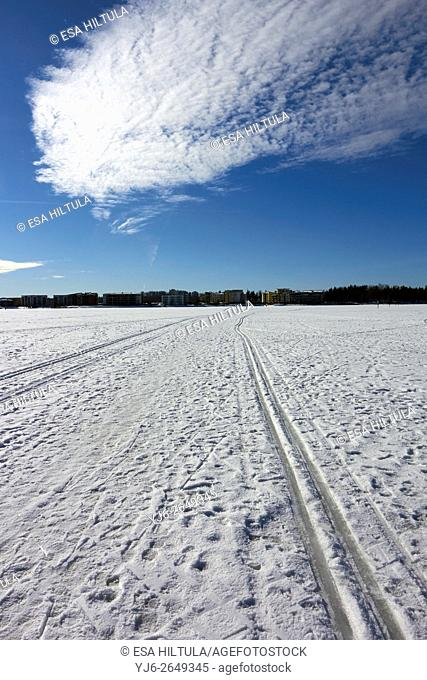 trails on lake ice, Lappeenranta Finland