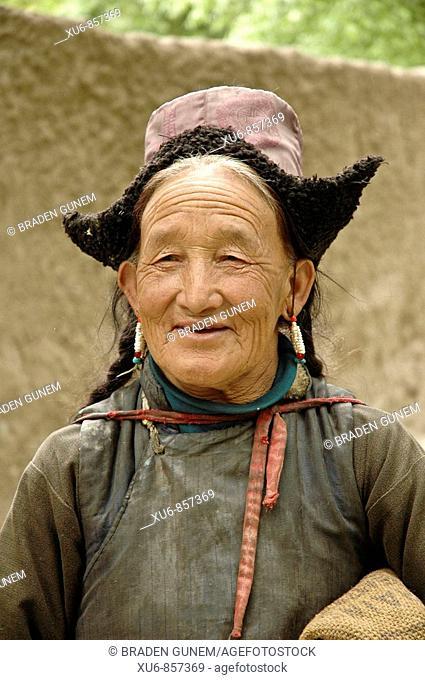 Old Ladakhi woman in the village of Alchi Ladakh, India