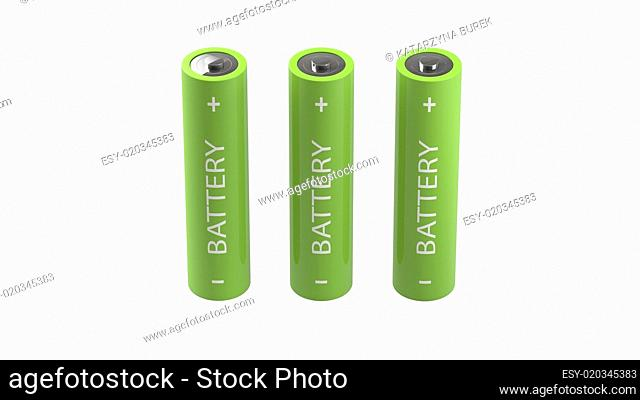 three green isolated batteries