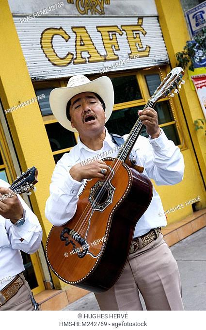 Mexico, Federal District, Mexico City, Coyoacan district, street musician, huastéque