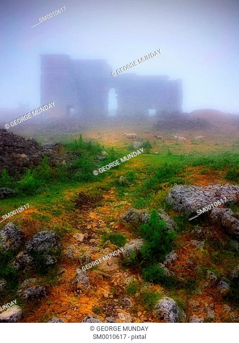The Roman ruins of Acinipo, with passing sheep,