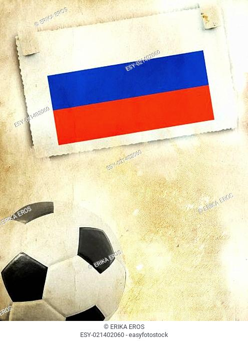 Photo of Russia flag and soccer ball