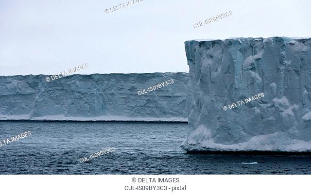 Arctic ocean and ice cliffs of polar ice cap, Austfonna Nordaustlandet, Svalbard, Norway