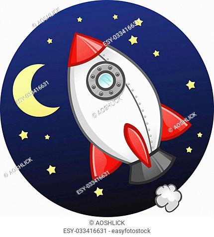 A fun plastic rocket ship toy made of plastic in outer space near the moon