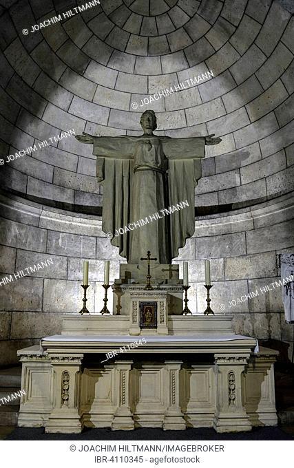 Christ statue in the crypt of the Basilica Sacre Coeur de Montmartre, Montmartre, Paris, France