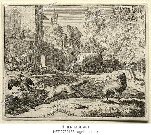 Reynard the Fox: Reynard Chasing Hens. Creator: Allart van Everdingen (Dutch, 1621-1675)