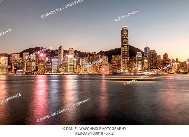 Hong Kong, Tsim Sha Tsui, cityscape at dusk