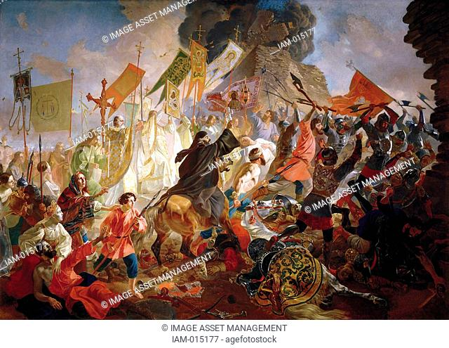Siege of Pskov by Polish King Stefan Batory', 1843. Oil on canvas. Karl Briullov 1799 –1852 Russian painter. Livonian War 1581-1582 between Poland and Russia