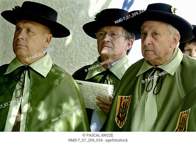 Close-up of two senior men and a mature man looking serious