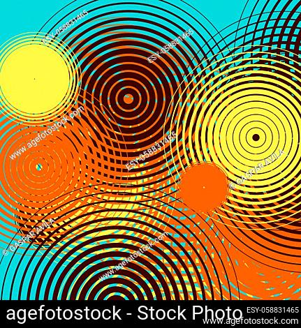 Graphic design with colorful ripples on a teal color background. Algorithmic digital art