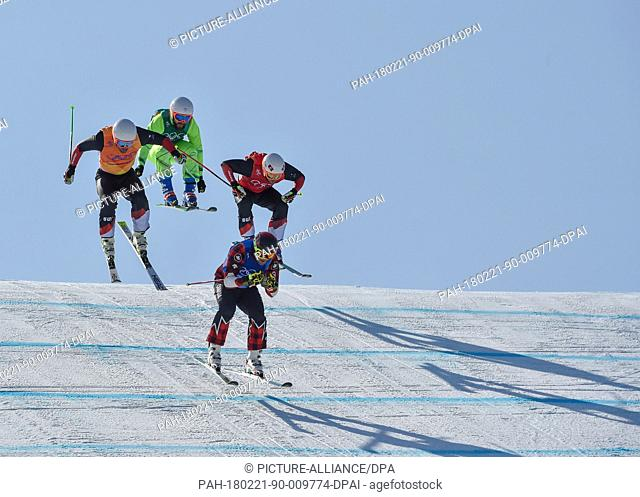 "Brady Leman (front) from Canada, Marc Bischofberger (back, left to right) from Switzerland, Kevin Drury from Canada and Sergey Ridzik from the team """"Olympic..."