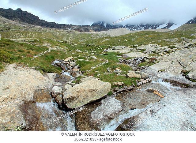 landscape over Valsavarenche valley, near refuge Chabod. Gran Paradiso National Park. Italy