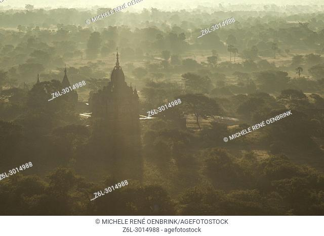 Morning view of the temples of Bagan Myanmar