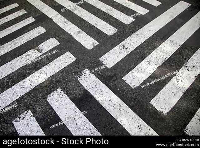 Detail of signal for pedestrians on the asphalt, road safety