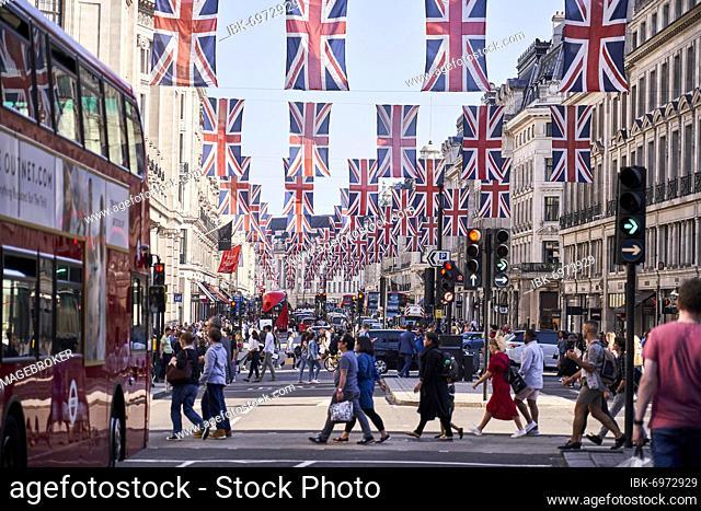 Union Jack Flagging over Regent Street Bus, London, England, United Kingdom, Europe