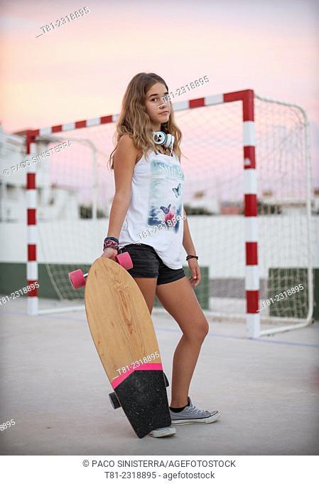 girl with skateboard, Peniscola, Spain