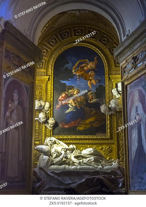 Gian Lorenzo Bernini's statue 'Blessed Ludovica Albertoni' in the Paluzzi-Albertoni chapel in the church of San Francesco a Ripa - Rome, Italy