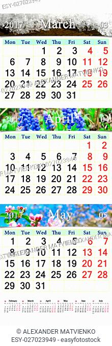 office triple alendar for March April and May 2017 with photo of nature