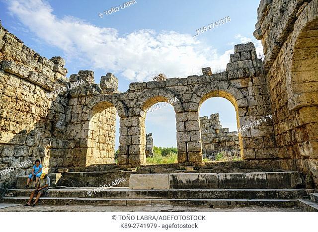 Perge Baths. Old capital of Pamphylia Secunda. Ancient Greece. Asia Minor. Turkey