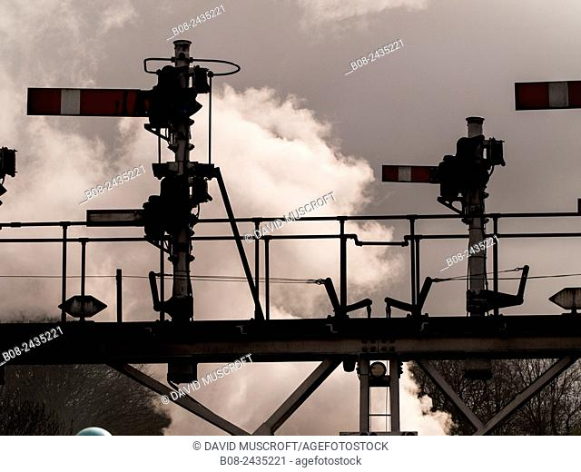 signals at Grosmont station, on The North Yorkshire Moors Railway, Yorkshire, UK