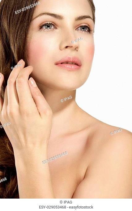 Skin of beauty young woman with redness, skin problems on white