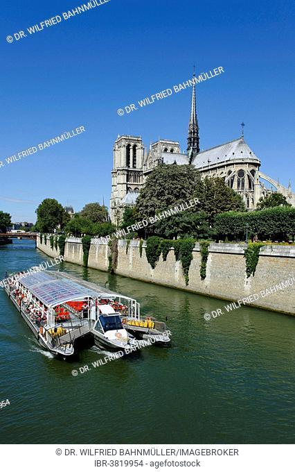 Excursion boat on the Seine, eastern side of Notre-Dame de Paris or Notre-Dame Cathedral, Seine, Ile de la Cité, 4th Arrondissement, Paris, France