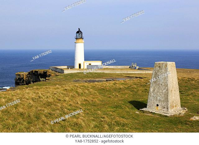 Noup Head, Westray Island, Orkney Islands, Scotland, UK, Great Britain, Europe  Trig point near lighthouse built on the headland by David A Stevenson 1898 to...