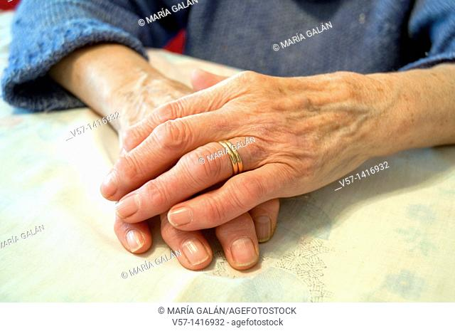Old woman's hands. Close view
