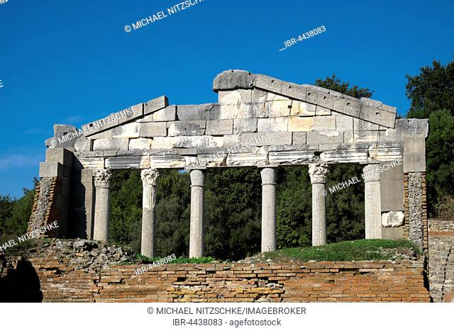 Restored monument of Agonothetes, bouleuterion, ruins of Apollonia, Fier County, Albania