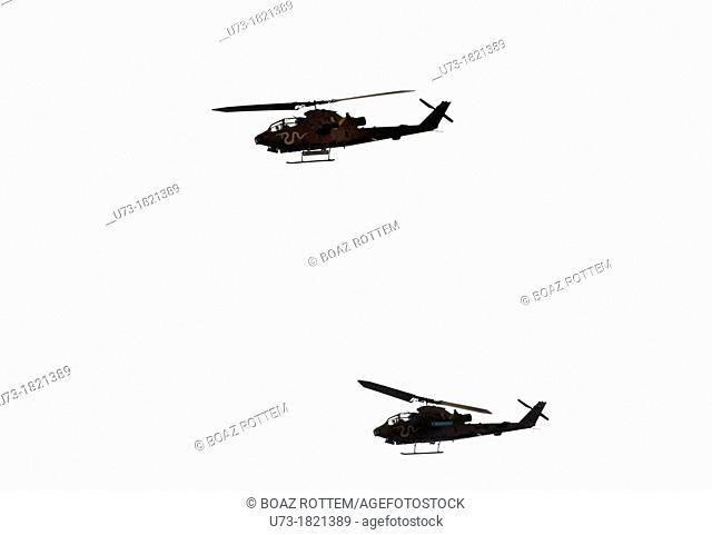 Israeli Cobra helicopters flying south towards Gaza