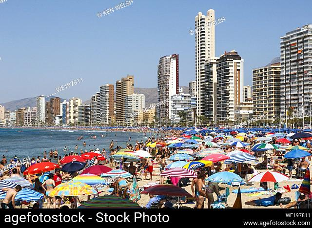 Benidorm, Costa Blanca, Alicante Province, Spain. Levante beach in high season