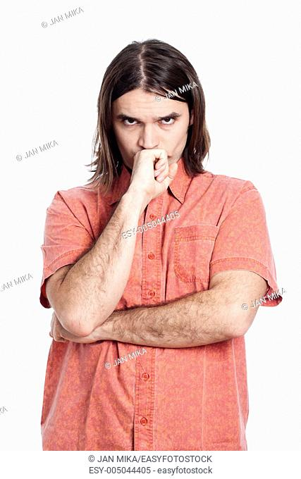 Young longhaired pensive man thinking, isolated on white background