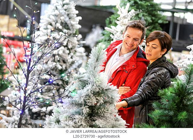 Couple buying Christmas tree, garden center