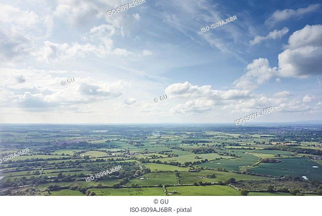 Aerial view of fields over Manchester, Lancashire, UK