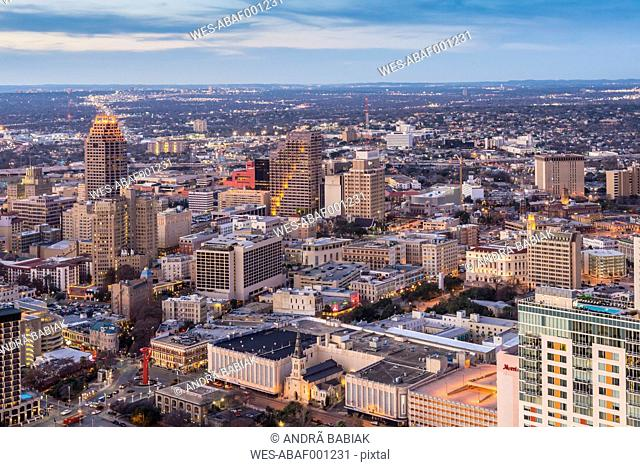 USA, Texas, San Antonio, View from the Tower of the Americas with St Joseph's Church in foreground and Weston Centre in background