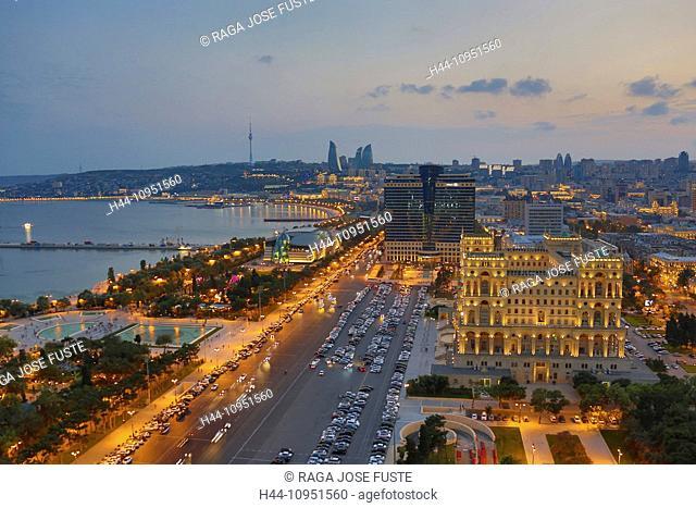 Azerbaijan, Caucasus, Eurasia, Baku, Government, aerial, architecture, avenue, bay, cars, city, downtown, fountains, government, skyline, sunset, touristic