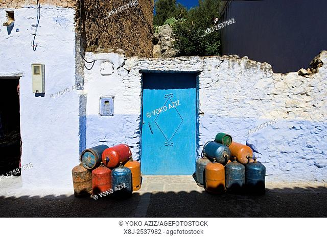 Morocco, Chefchaouen, gas bottles