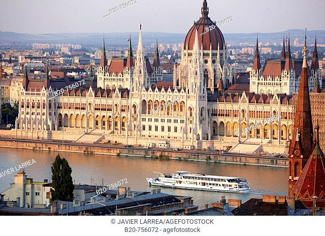 Parliament and Danube river, Budapest, Hungary